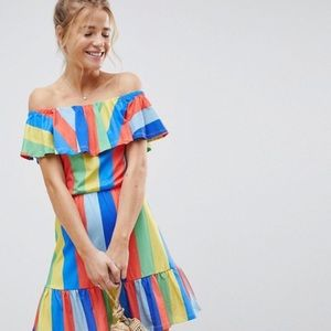 ASOS Off Shoulder Dress With In Rainbow Stripe